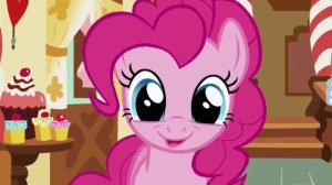 Pinkie Pie from My Little Pony: Friendship is Magic is smiling with large eyes.
