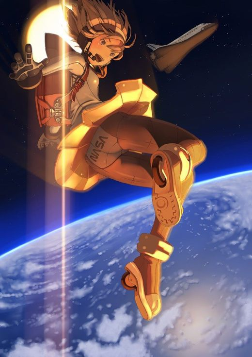 A moé girl in orbit of Earth with the Sun and Space Shuttle behind her.