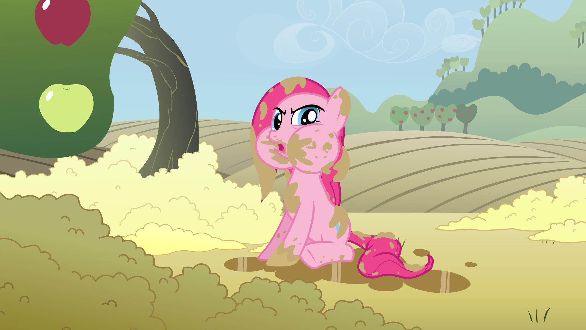 Pinkie Pie is in a puddle of chocolate milk.