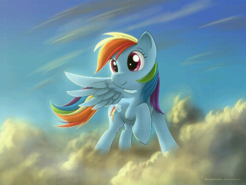 Rainbow Dash looks at the setting sun
