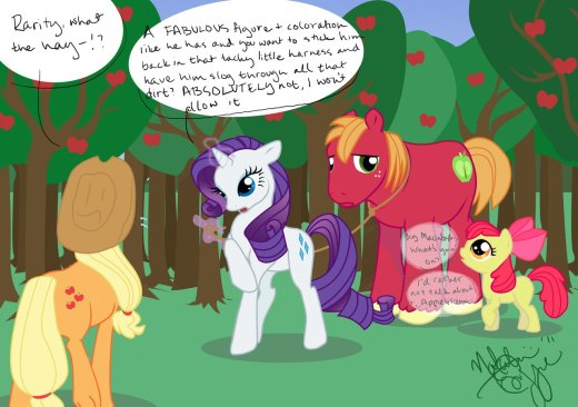 Applejack and Apple Bloom comment as Rarity leads around Big Macintosh