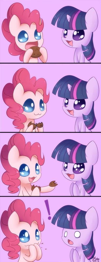 Pinkie Pie splits cookie to share with Twilight Sparkle, but eats both halves herself
