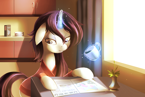 Rarity is reading the Foal Free Press in the morning