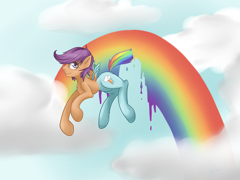 Scoots trying to turn herself into Rainbow Dash