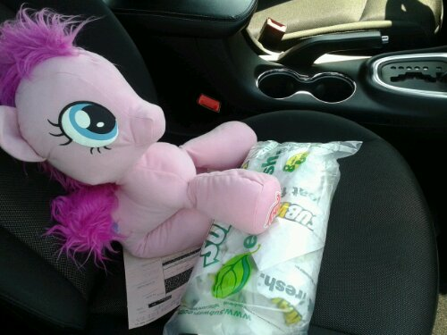 The sandwiches are from Subway, and My Little Pony is from Toys R Us