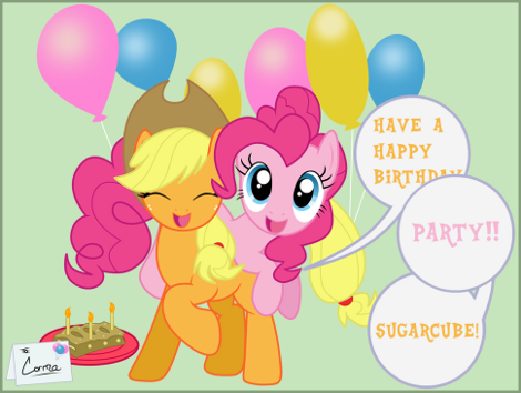Happy Birthday to Lauren Faust from Apple Jack and Pinkie Pie