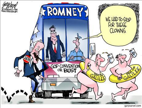 Romney campaign stops amid antics