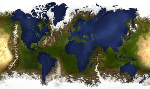 The earth, with inverted oceans and landmass