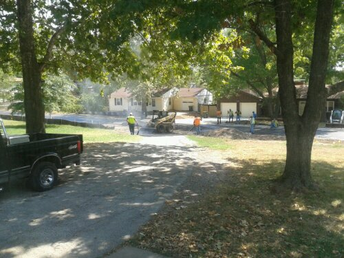The contractor completed the asphalt work on our driveway