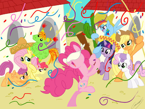 Cast of My Little Pony: Friendship is Magic beats one of their kind in effigy, a pinata.