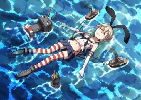 After a hard battle, Shimakaze is towed back to port by tug boats.