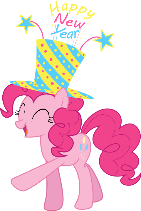 Pinkie Pie's showing her New Year's spirit