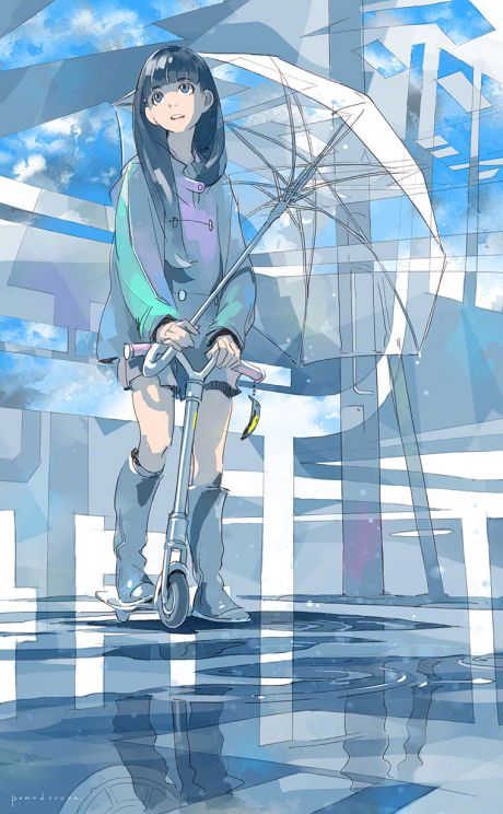 There's lot of great art of girls with these clear umbrellas
