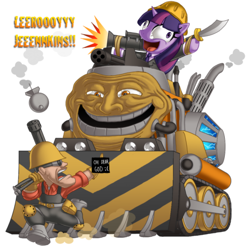 Twilight rides a bulldozer while wearing a construction helmet