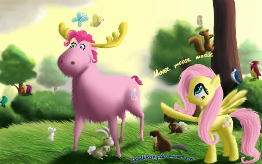 Fluttershy sees Pinkie Pie as a Moosey Moose Moose Moose