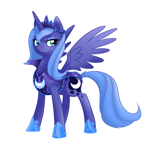I like this one better than the other version, she looks more confident plus the armour matches Celestia's