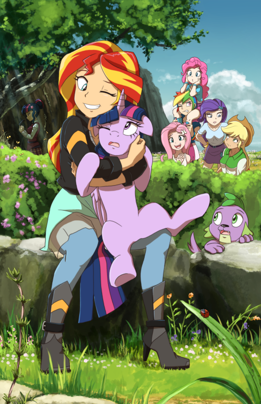 In short, the others discovered that Sunset is secretly a brony