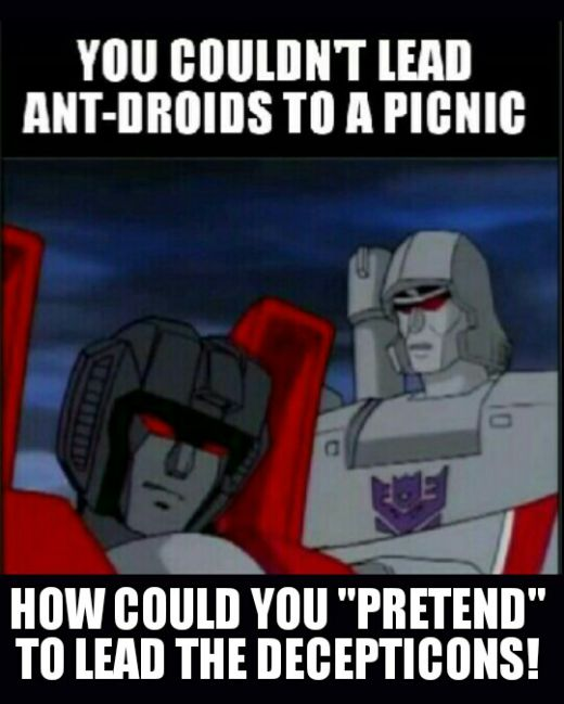 You couldn't lead ant-droids to a picnic. How can you pretend to lead the Decepticons?