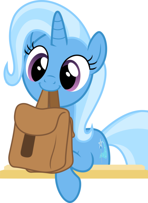 Cute Trixie holds bags