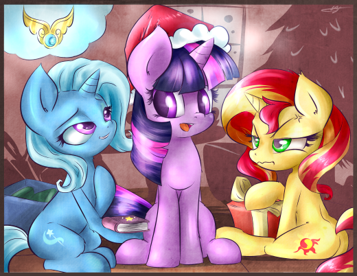 Trixie, Twilight, Sunset Shimmer -- Merry Christmas