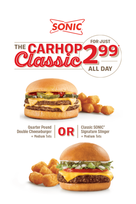 Choose between a Quarter Pound Double Cheeseburger or a Classic Signature Slinger to pair with Medium Tots for just $2.99